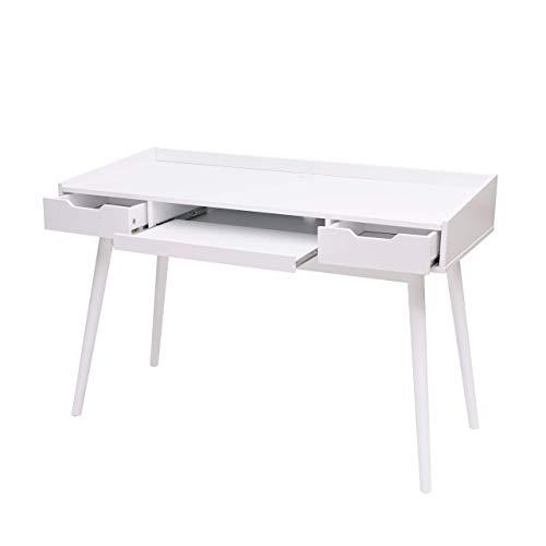 Mendler Schreibtisch HWC-A70b, Bürotisch Computertisch, MDF 120x55cm ~ weiß