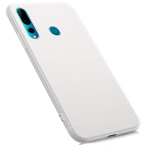 JAWSEU Coque Huawei Nova 4,Etui Huawei Nova 4 Silicone TPU Ultra Mince 360 Degrés Flexible Silicone Souple Gel Housse de Protection Full Protection Antichoc Bumper Case Coque,Blanc