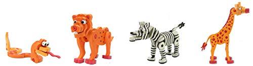 Jamara 460846 Puzzle 3D Soft Steck Animals – 350 Piezas, fomenta la Creatividad, la motricidad y la Libertad de diseño, Modelos sin Necesidad de Pegar/Herramientas