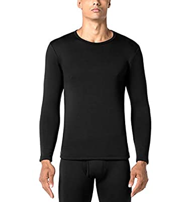 LAPASA Men's Heavyweight Thermal Underwear Top Fleece Lined Base Layer Long Sleeve Shirt M26 (Black, X-Large)