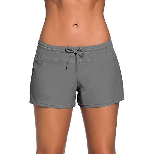 WONLINE Damen Badeshorts Bikinihose Shorts Trunks Badeanzug Bauchweg Badekleid Badehose mit verstellbarem Tunnelzug Mini Bikini Slip Beachwear Schwimmshorts (Stil1,M)