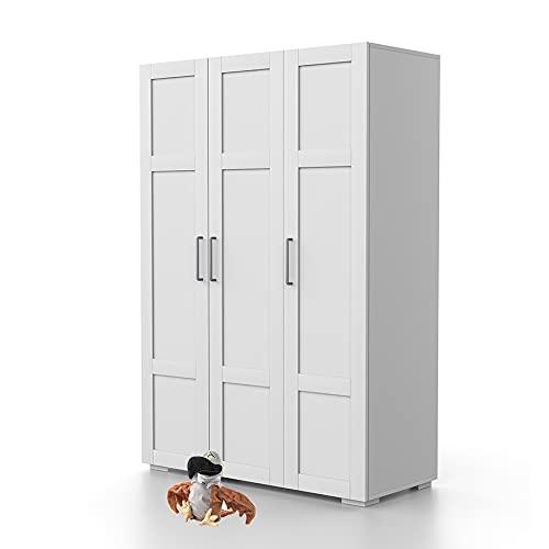 Bonamaison Haus Möbel, Dreitüriger Kleiderschrank, Kleiderschrank, 18mm MDF, Weiß, 120x47x185 cm