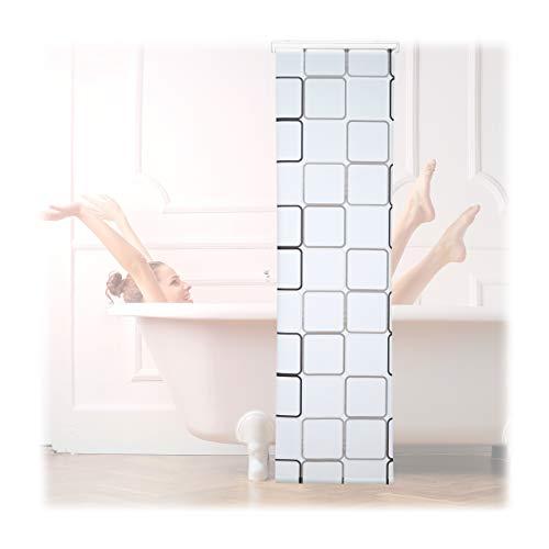Relaxdays Duschrollo Square, wasserabweisend, Retro Badrollo Wanne u. Dusche, Deckenmontage, 60x240cm, semitransparent