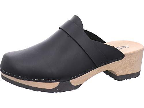 Softclox Clogs mit Holzboden Größe 36 EU Schwarz (schwarz)