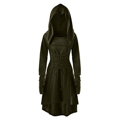 Vrouwen Halloween Midi Swing Jurk, Dames Kerst Vintage Renaissace Gotische Lace-Up Asymmetrische Slanke Steampunk Cocktail Uniform Hooded Mantel