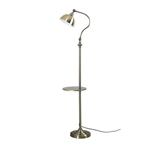 Lámpara de pie vertical de hierro forjado estilo americano retro fácil de pescar, dormitorio, mesita de noche, salón, estudio, almacenamiento ajustable, lámpara vertical