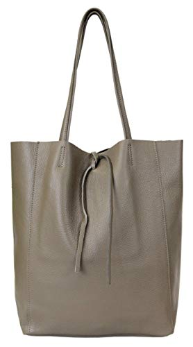 irisaa Women's Leather Shopper XXL Shoulder Bag with Drawstring Handbag Lightweight with Leather Inner Pocket for Work Uni School Soft Women's Handbag from Italy Brown Size: One Size