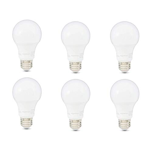 AmazonBasics 40W Equivalent, Daylight, Non-Dimmable, 10,000 Hour Lifetime, A19 LED Light Bulb | 6-Pack