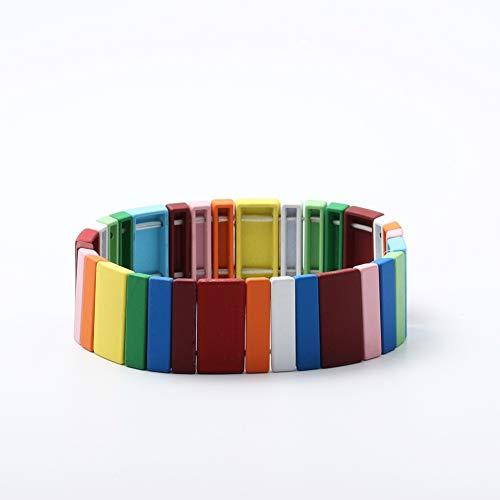 5PS Pride Rainbow Multicolor Hilo Elástico Hilo Joyería Hallo Gay Strand Pulsera para Hombres Mujeres (Color : E)