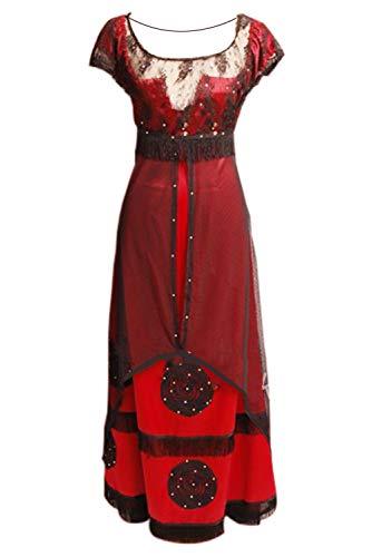 Disfraz de pelcula para Mujer, Cintura Alta, Vestido de Encaje de Manga Corta, para Halloween, Carnaval, Cosplay