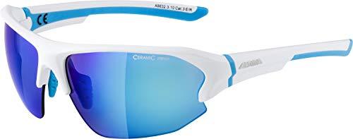 ALPINA Unisex - Erwachsene, LYRON HR Sportbrille, white matt-cyan, One size