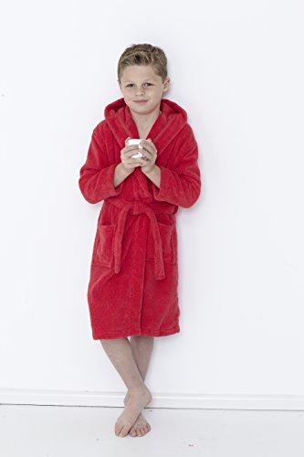 Gran Nudo Kids Zero Twist 350 gsm Albornoces con Capucha para nios - 100% algodn (5/6 aos, Rojo) (7/8 Years, Red)