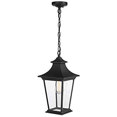 Emliviar 1-Light Outdoor Pendant Light, 14 inch Exterior Hanging Lantern Light Fixture in Black Finish with Clear Glass, 500181-H BK