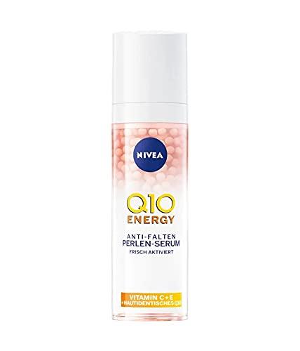 NIVEA Q10 ENERGY Anti-Falten Perlen-Serum (30 ml), Gesichtsserum mit 100% hautidentischem Q10, Vitamin C und Vitamin E, Serum für strahlendere und gestraffere Haut