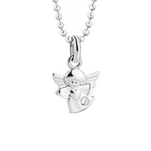 butterfly Mädchen Kette Silber 925 Swarovski Elements Engel-Anhänger Schutzengel Farblos Längen-verstellbar Satin-Beutel Kinder Geschenk Schmuck