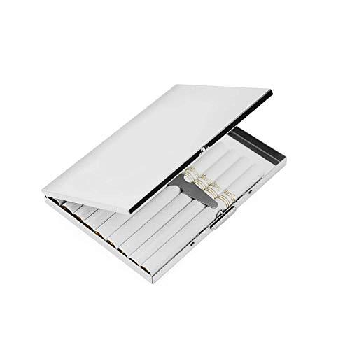 Bocotoer Cigarrera de Acero Inoxidable con Bolsillo de Metal para Cigarrillos o Tabaco, Color Plateado