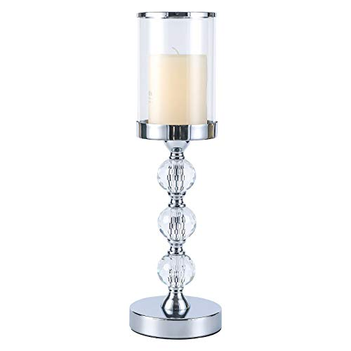 Pillar Candle Holder with Glass Lid,Crystal Candle Holder for Pillar Candle, Candlesticks Holder with 3 Crystal Balls for Coffee Dining Table, Wedding, Christmas, Halloween, Home Decor CH029