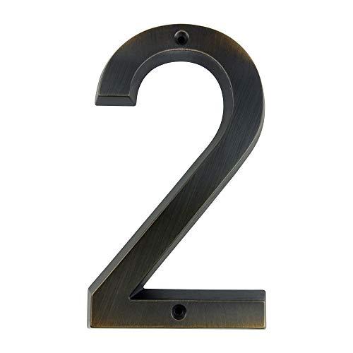 HASWARE Señal de número de casa 6 pulgadas (15 cm) Estilo vintage Acabado en bronce envejecido Números de puerta Placa de señalización Calle Dirección Números de casa, aleación de zinc (2)