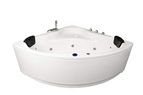 Whirlpool Badewanne Karibik Basic Made in Germany 130 x 130, 140 x 140 oder 150 x 150 cm mit 13 Massage Düsen LED Beleuchtung Licht dhW Holland Mit Armaturen Eckwanne Spa runde Eckbadewanne günstig