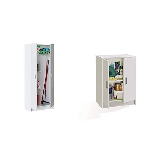 Habitdesign 007142O - Armario Multiusos escobero de 2 Puertas, Color Blanco Mate + Kawai A4 - Mueble Armario Multiusos bajo 2 Puertas, Color Blanco