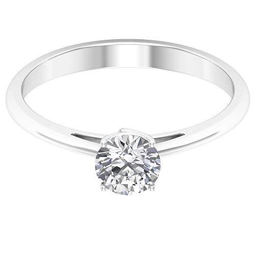 Anello di fidanzamento con solitario 0,70 ct certificato SGL, anello di fidanzamento antico, taglio rotondo, gemma bianca, 14K Oro bianco, Moissanite, Size:EU 44