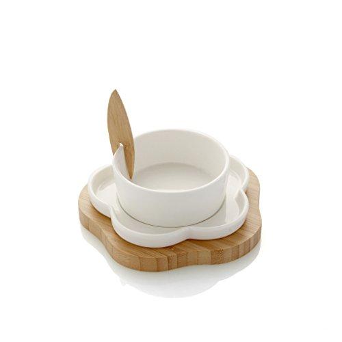 Brandani 55445 Coupelle Antipasti Fiore avec Fourchette et Support Porcelaine/Bambou