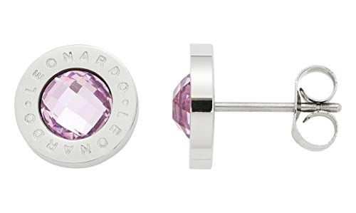 JEWELS BY LEONARDO Damen-Ohrstecker Matrix rosa, Edelstahl mit facettiertem Farbglasstein und LEONARDO-Gravur, Größe (B/H/T): 10/10/14 mm,...