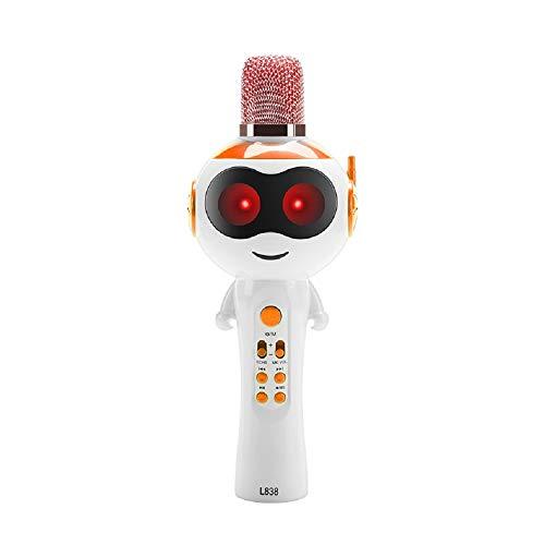 Karaoke-microfoon voor kinderen, draadloze bluetooth-microfoon, draagbare karaoke-machine met luidspreker, compatibel met Android, iOS, PC, smartphone, thuis-KTV oranje