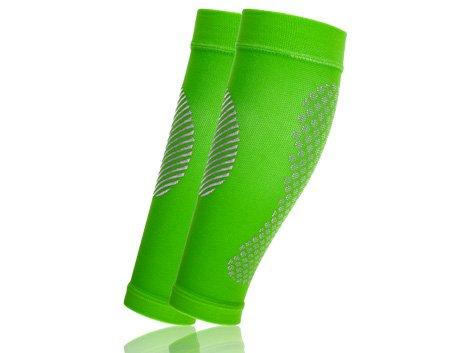 Full Force Compression Calfs, Fasce di compressione per polpacci // Calf Sleeves per Corsa, Ciclismo, Triathlon, Fitness, Atletica Leggera, Sport, Crossfit, Viaggi neon verde