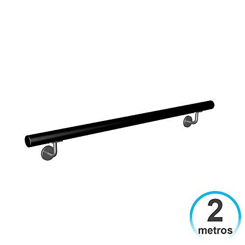 7hSevenOn Deco Pasamanos Barandilla 2 Metros Hierro Lacado con 2 Soportes Negro para Escalera