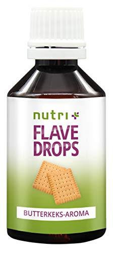 FlaveDrops Butterkeks 50ml - Kalorienfreie Aromatropfen - Geschmackskonzentrat zum Süßen und als Backaroma - Vegan - Flavour ohne Zucker - Butterkeksaroma mit Süßstoff MHD 10/2020