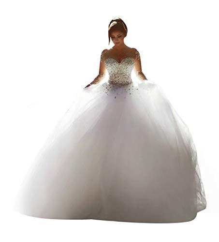 ScelleBridal Gorgeous 2016 Pearls Beading Long Sleeves Ball Wedding Dresses for Bride White 14