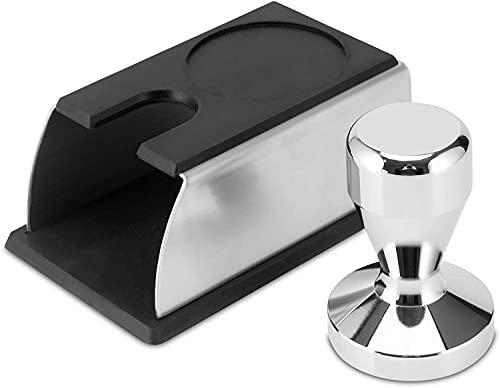 Kaffee Tamper 58mm mit Auflage für Siebträger - Edelstahl Barista Zubehör bestehend aus Tamper Station und Espresso Stopfer - hochwertiger Espresso Tamper inklusive Tamperstation 58mm