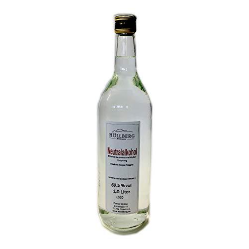 Höllberg Neutralalkohol - Weingeist - Primasprit - Ethanol - Trinkalkohol - Desinfektionsmittel 69,5% vol. (1 x 1 Liter)