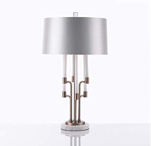 KK Zachary Lámpara de Mesa Post-Simple Moderna Hierro Forjado lámpara de Mesa for la lámpara de Escritorio Habitación Sala Hotel Suites LED, Oro Blanco, A