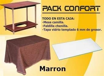 ok Pack DE Mesa Camilla DE 120 X 70 CM +Tapa+FALDILLA Marron