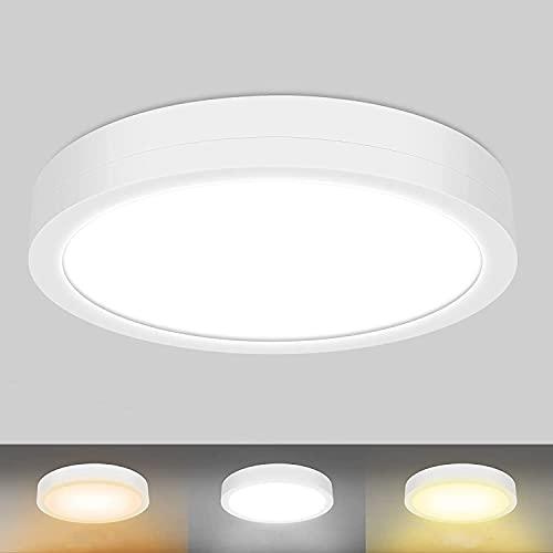 MEIKEE Plafonnier LED 32W, Luminaire Plafonnier IP54 3200LM 3 Couleures Réglables 6500K 4000K 2700K Lampe de Plafond Rond Moderne Ø30cm Applicable à Salle de Bain, Chambre, Cuisine, Salon, Balcon