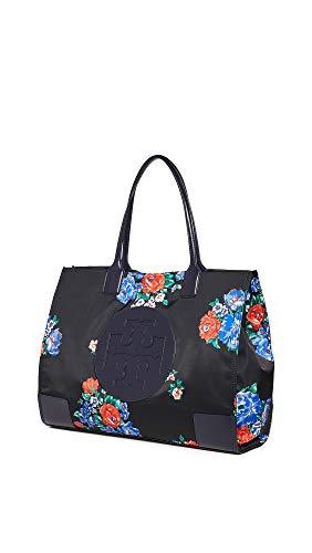 Tory Burch Women's Ella Printed Tote Bag, Black Tea Rose, One Size