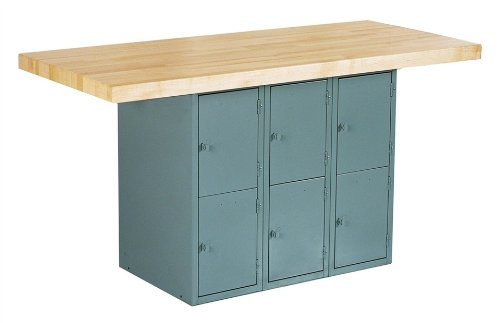 """Big Sale Diversified Woodcrafts WB6-0V Gray 2 Station Workbench with 6 Vertical Locker, Maple Top, 64"""" Width x 33-1/4"""" Height x 28"""" Depth"""