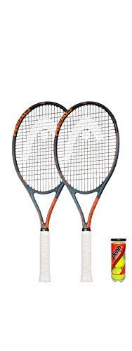 HEAD Ti. Radical Elite - Raqueta de tenis (2 unidades, incluye fundas protectoras y 3 pelotas de tenis)