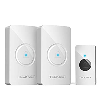 Wireless Doorbell TeckNet Waterproof Door Bell Chime Kit Operating at 1000 Feet with 2 Plug-In Receivers 38 Chimes 4 Volume Levels & LED Light Flash  White