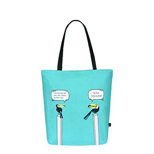 Eco Right Bolsa de lona de algodón orgánico para mujeres | Bolsas ecológicas para el trabajo y las compras | Bolsa de hombro pequeña e impermeable para la playa, los viajes, etc.