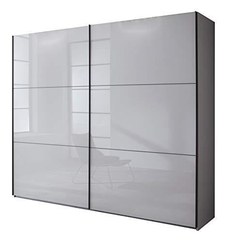 lifestyle4living Schwebetürenschrank in grau, 250 cm | Hochwertiger Kleiderschrank mit 2 Schwebetüren, 3 Einlegeböden & 3 Kleiderstangen