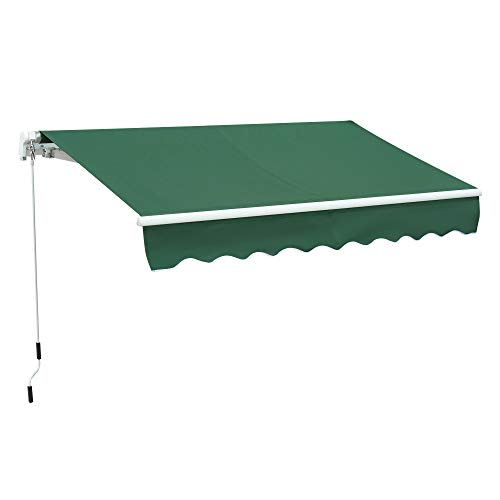 Outsunny 8' x 7' Patio Retractable Awning/Manual Exterior Sun Shade Deck Window Cover, Green