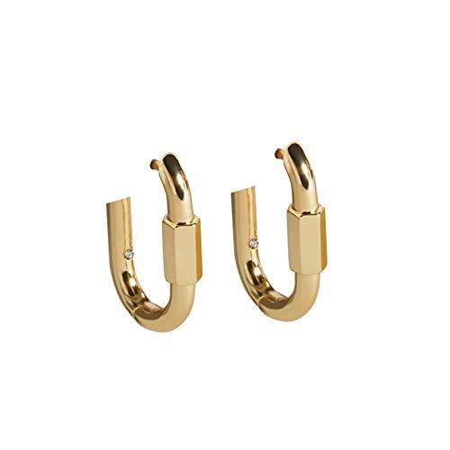 Pendientes de aro chapados en oro de 14 quilates, diseño de corazón chic, cruz, cierre y pasador de seguridad, con circonita cúbica, para mujer