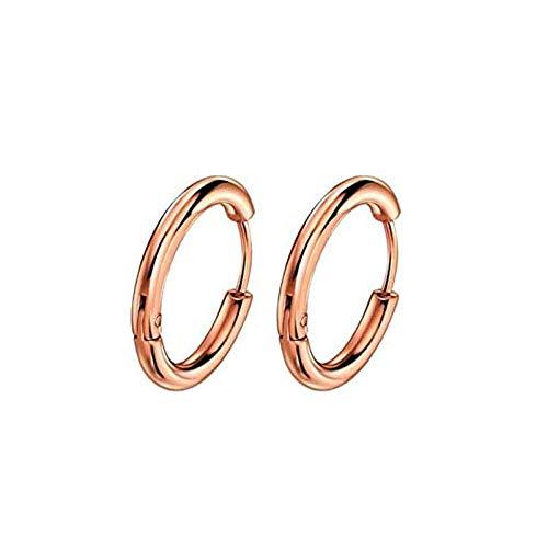 Pendientes Mujer Pendientes De Aro Color Plateado Oro Pendientes Redondos Mujeres Hombres Moda Punk Hoops Earring-Rose_Gold_16Mm