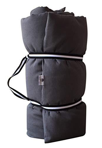 Futón Portátil de Viaje 65x200x8 Color Gris, de Puro algodón - de Masaje, para Yoga, Shiatsu y meditación + Cinturón Yogi