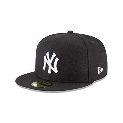 New Era New York Yankees Basic 59Fifty Fitted Cap Hat Black/White 11591127 (Size 7 5/8)
