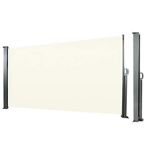 CCLIFE Seitenmarkise Ausziehbar Sichtschutz Windschutz Sonnenschutz TÜV mit Alu-Rolle, Farbe:Beige, Größe:180x300cm