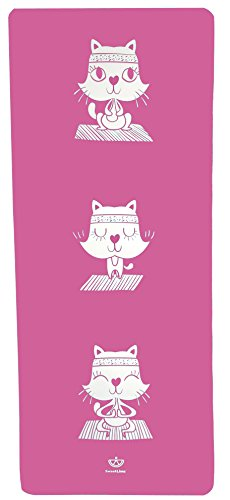 SweetLime Eco-Friendly Kids Yoga Mat - Cat (Pink) | Non-Toxic | Non-Slip | No PVC | Cute Yoga Characters